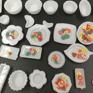 33Pcs/Set Mini Dollhouse Kitchen Food Dishes Plate Model Serving Kids Toys CA