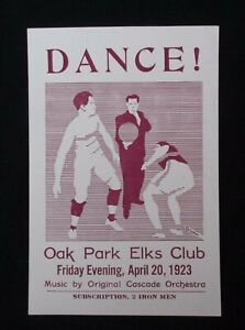 Antique Dance! Elks Club 1923 Play Theatre Musical Poster Announcement