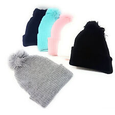 Bobble Beanie Hat Womens Mens Winter Plain Woolly Ski Knitted Turn Up Adults
