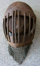 Medieval Heavy Iron Helmet with Chain Mail - SCA