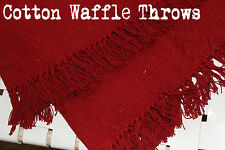 Red Cotton Waffle Throw: Bed or Sofa Rug Blanket Travel Jacquard Woven w Fringe
