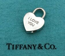 """*WOW* AUTHENTIC TIFFANY & CO STERLING """"I LOVE YOU"""" HEART PADLOCK CHARM PENDANT"""