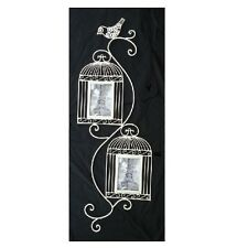 Home and Garden Cream Metal Wall Art Wall Hanging Birdcage with Photo Frames