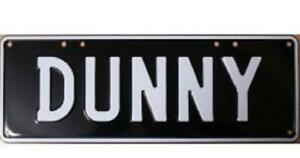 Australian Novelty Tin Number Plate DUNNY 380mm x 130mm