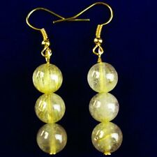 1 Pair Natural Gold Rutilated Quartz Round Ball Pendant Bead Earrings EH97
