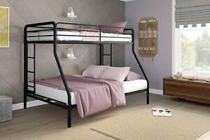 Twin-Over-Full Bunk Bed with Metal Frame and Ladder, Space-Saving Design, Black