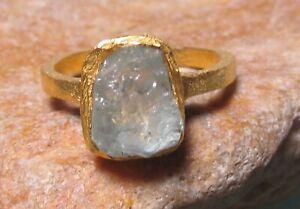 Gold plated brass everyday natural aquamarine ring UK I½/US 4.5-4.75. Gift Bag.
