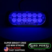 Blue Mini Strobe Flashing 12 Cree LED Slim Light Truck Front Grill Bumper 48 Wts