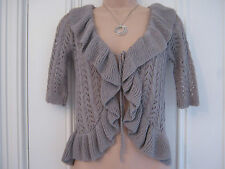Gorgeous Lineamaglia size 10 UK crocheted cardigan shrug in beige/mink colour