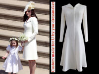 Custom made Kate Middleton ivy white wing lapel coat dress Megan royal wedding