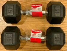 New! Weider Rubber Hex Dumbbells 15lb Pair - 30lb Total - FREE SHIPPING!