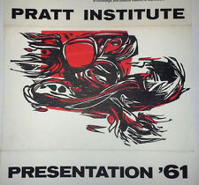 RARE ORIGINAL 1961 PRATT INSTITUTE PRESENTATION '61 BROADSIDE POSTER IBM GALLERY