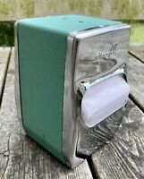 Wiscofold Chrome Diner Napkin Dispenser Holder Dual-Sided Teal Art Deco Retro