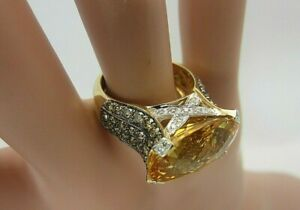 Le Vian 14K Yellow Gold Checkerboard Citrine and Chocolate Diamond RIng 12.73 CT