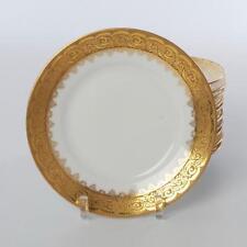 VINTAGE SET OF 12 GOLD ENCRUSTED OLD ABBEY LIMOGES DESSERT PLATES