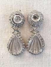DeLILLO clear crystal & rhinestone long drop earrings~MINT~SIGNED~VINTAGE~T8