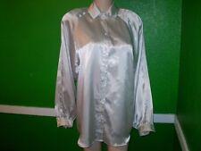 TARAZZIA LIQUID SATIN SHIRT TOP DRESS SUIT BLOUSE MEDIUM VINTAGE BALLOON SLEEVES