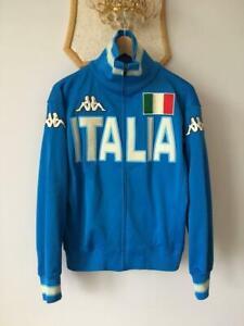 ITALY ITALIA BIG LOGO VINTAGE RETRO FOOTBALL SOCCER JACKET TRACK TOP MENS KAPPA