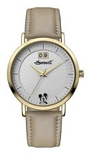 Ingersoll Disney Gold Case Beige Leather Strap Mickey Mouse Womens Watch ID00503