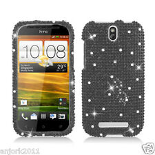 HTC ONE SV Cricket Boost Diamond Hard Snap-On Case Cover Solid Black