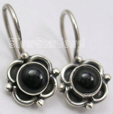 "925 Sterling Silver CABOCHON BLACK ONYX TRADITIONAL Earrings 0.7"" BRAND NEW"
