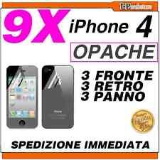 9X PELLICOLA per IPHONE 4 OPACA IPHONE4 4S 4 S 4G APPLE FRONTE + RETRO + PANNO