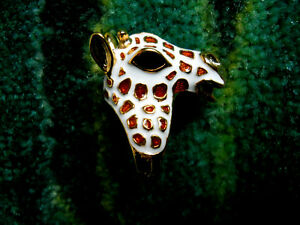 Kenneth Jay Lane Tan & White Spots Giraffe Gold Adjustable Ring Size 5 - 9