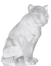 LALIQUE #10058000 TIGER SITTING FIGURE BRAND NIB PARIS CLEAR FROSTED CRYSTAL F/S
