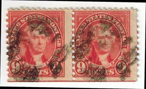 US Stamps Scott # 561, Jefferson 9c -Fancy Cancel-Horizontal Line Pair