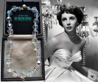 VINTAGE AURORA BOREALIS CLEAR AUSTRIAN CRYSTAL CHUNKY STATEMENT NECKLACE BRIDAL