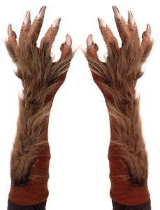 HALLOWEEN ADULT WEREWOLF  HANDS  MASK PROP