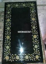 4'x2' Black Marble Top Dining Table Marquetry Inlaid Outdoor Mosaic Decor H3225