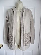 Hollister XS/S Sweater Open Front Cardigan Hooded Beige Nordic Pattern Knit
