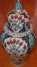 "24""x12"" Handpainted Turkish Iznik Red Tulip Pattern Ceramic Jar Urn Canister"