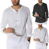 Mens Vintage Lace Up Long Sleeve Shirt Beach Top Casual Hippy Baggy T-shirt Tees