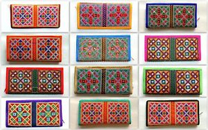 Indian Handicrafts Embroidered Ethnic Evening Clutch Bags Wallet Purse Gifts Zip