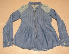 Free People Blouse S Blue Jean Sage Lace Shoulders Rouched Back Snap Closure