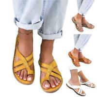 Womens Orthopedic Sandals Peep Toe Mules Summer Slippers Comfy Flat Casual Shoes