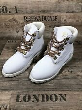 """TIMBERLAND - WHITE BOOTS with """"GOLD CHAIN"""" LACES - Size US10"""