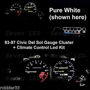 Gauge Cluster + Climate control led kit for Honda Civic del sol  93 94 95 96 97