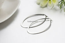 2pcs Women's Ladies Fashion Stainless Steel Big Teardrop Dangle Hoop Earrings