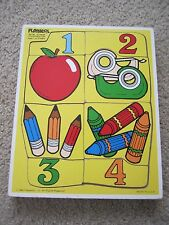 Vintage 1986 Playskool Wooden Puzzle Counting Fun School Theme 8 Piece Ages 1-3