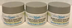 Kiehl's LOT OF 3  Rare Earth Deep Pore Cleansing Masque ~ 0.5 oz / 14 ml