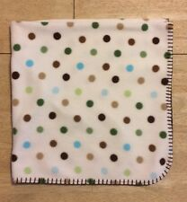 Circo Cream Off White Baby Blanket Polka Dots Brown Stitch Edge Blue Green