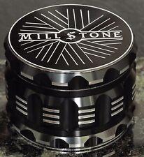 Millstone Tobacco Herb Grinder 2.5 inch 4-Piece Large Metal Magnetic Top Black