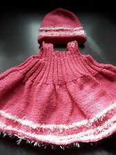 knittedhat&dress,0/3mths,pink,polyester.