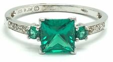 Sterling Silver Princess Cut Green Tourmaline Diamond Accent Band Cocktail Ring