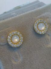.925 STERLING SILVER Traditional Stud Earrings cubic zirconia CZ Gold Plated