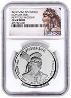 2016 Native Silver Dollar NY Mohawk Raccoon 1 oz Silver NGC Gem Proof SKU52725