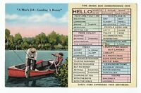 1940's Time Savers Easy Correspondence Card Postcard Two Men Fishing